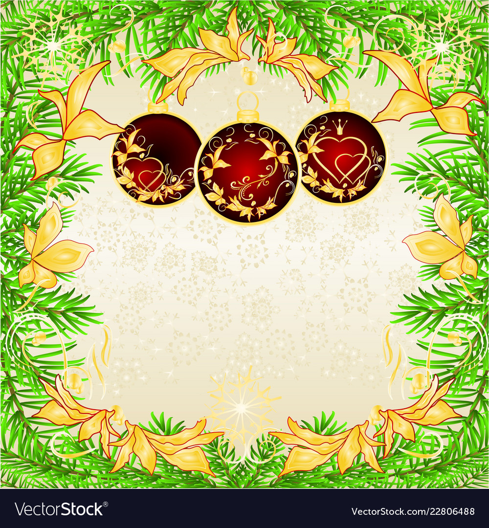 Christmas And New Year Frame Christmas Tree Vector Image