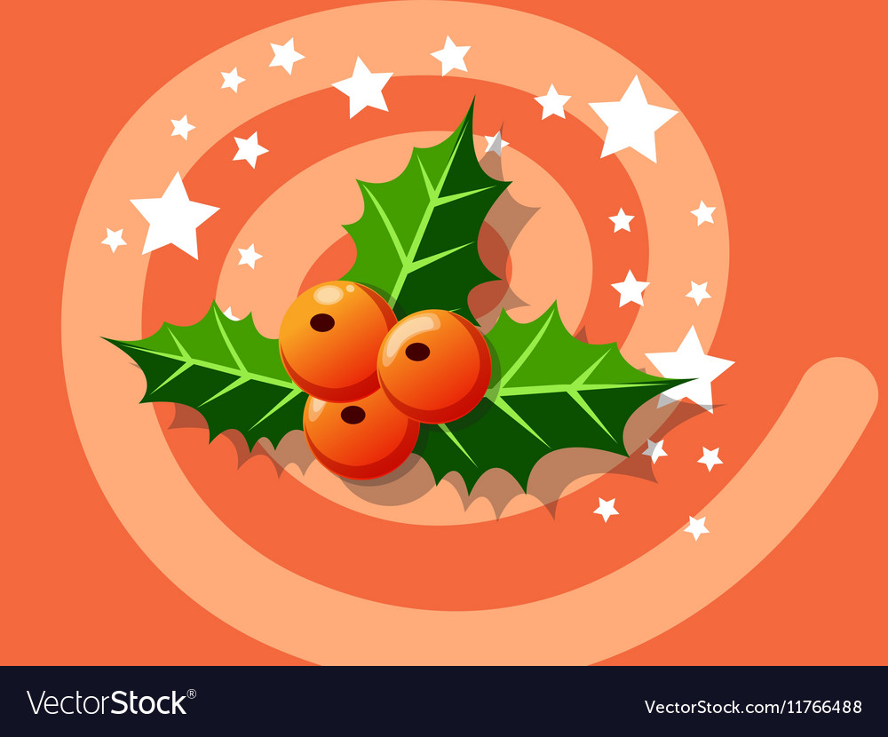 Holly berry icon christmas vector image