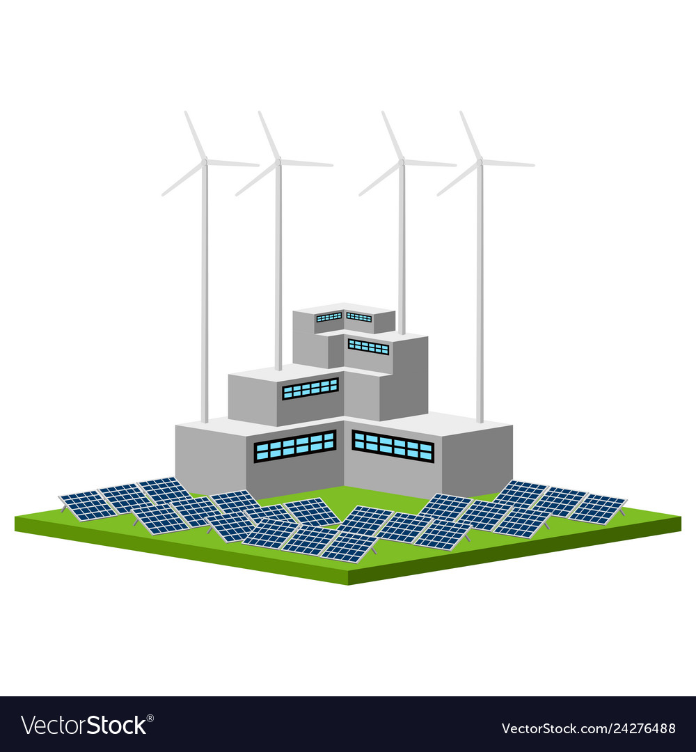 Isolated wind and solar power plant