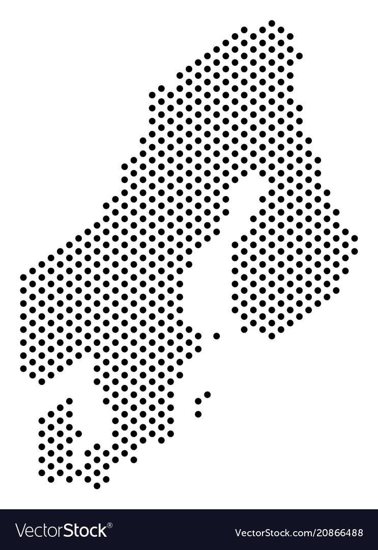 Pixel scandinavia map Royalty Free Vector Image