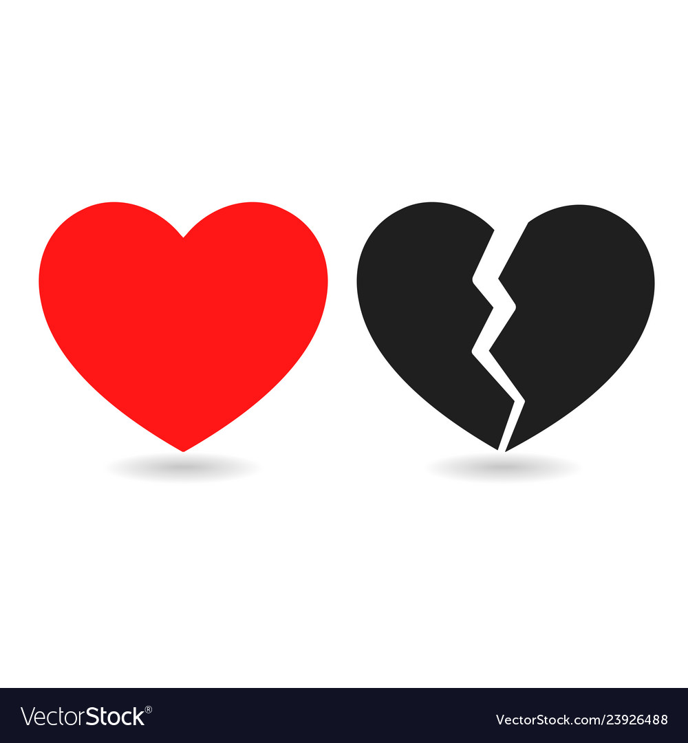 Red icon and black icon broken heart on white