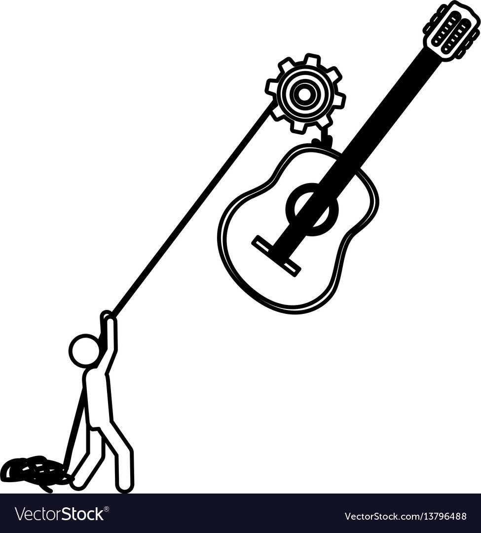 Silhouette worker with pulley holding acoustic