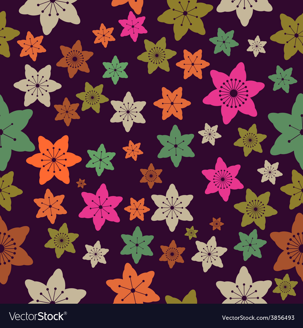 Abstract Colorful Flowers Seamless Pattern