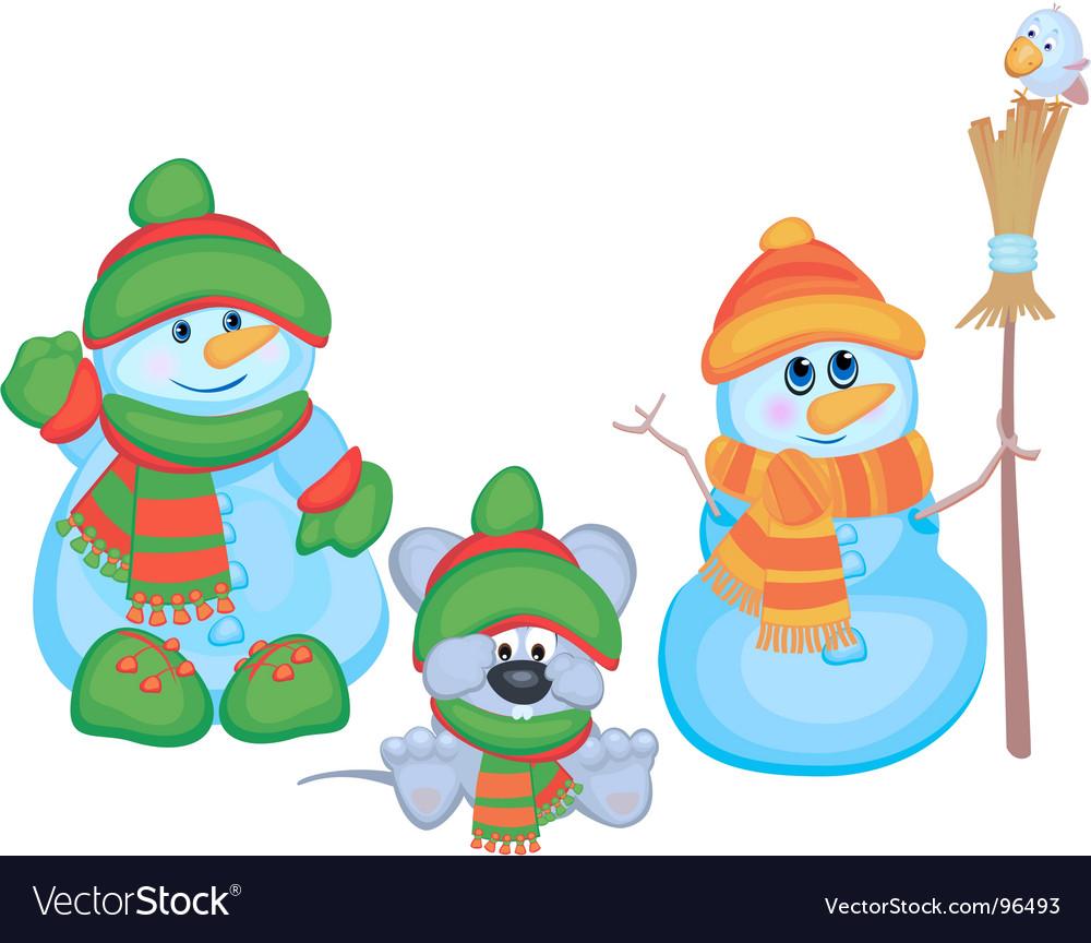 Cartoon snowmen vector image