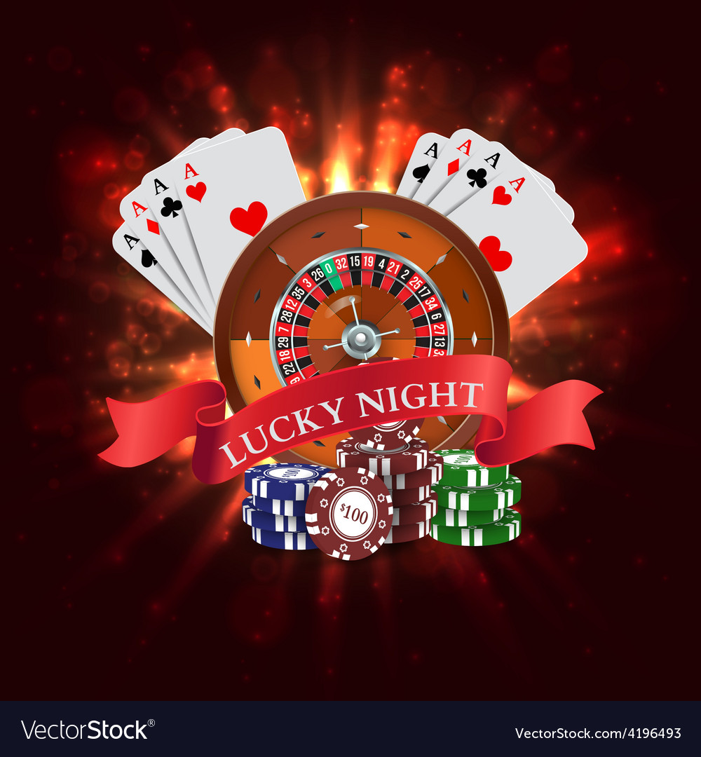 Casino roulette with red ribbon lucky night