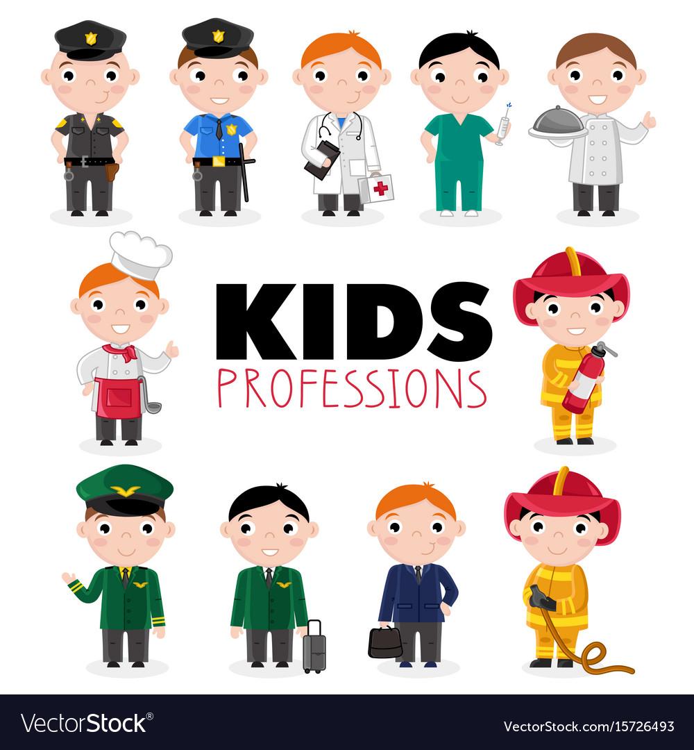 Children characters in professional uniform
