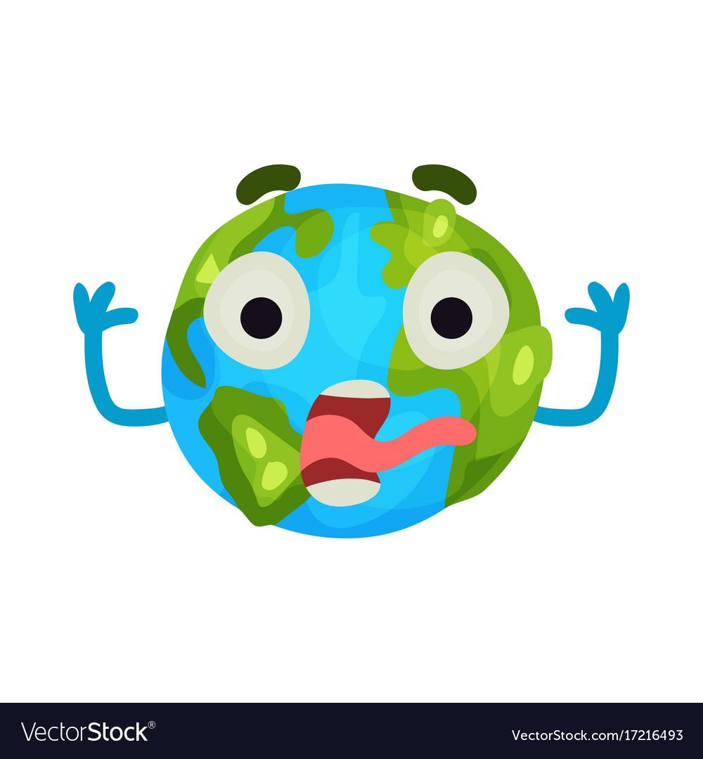 Cute Cartoon Frightened Earth Planet Emoji