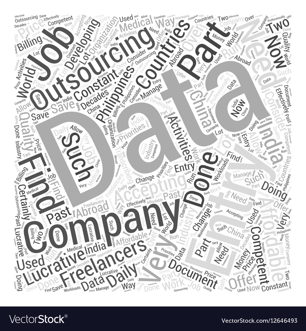 Data entry outsourcing Word Cloud Concept