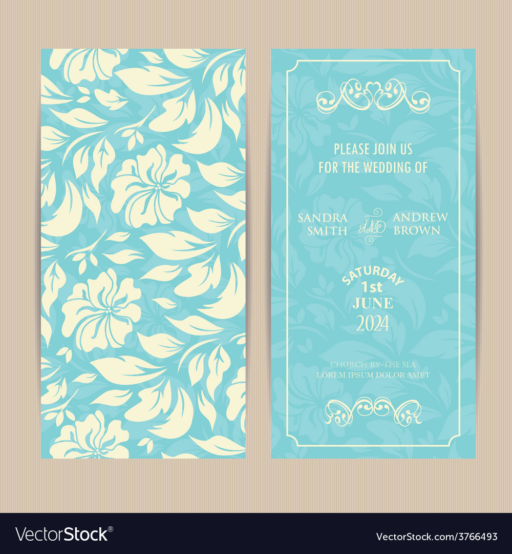 Double Invitation Card On Blue Floral Background