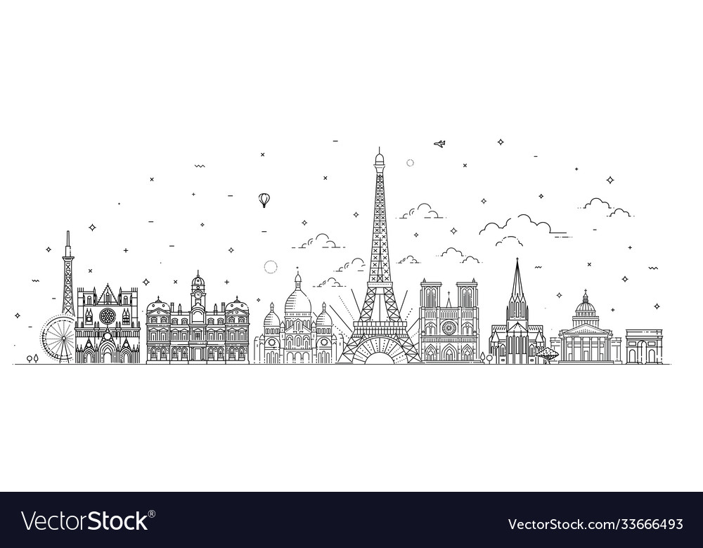 France skyline with panorama in white background