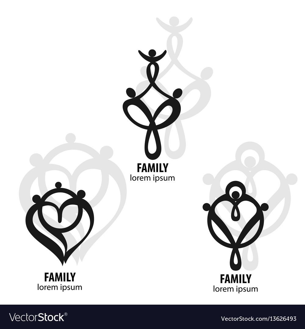 Happy family icon set in simple figures dad mom vector image