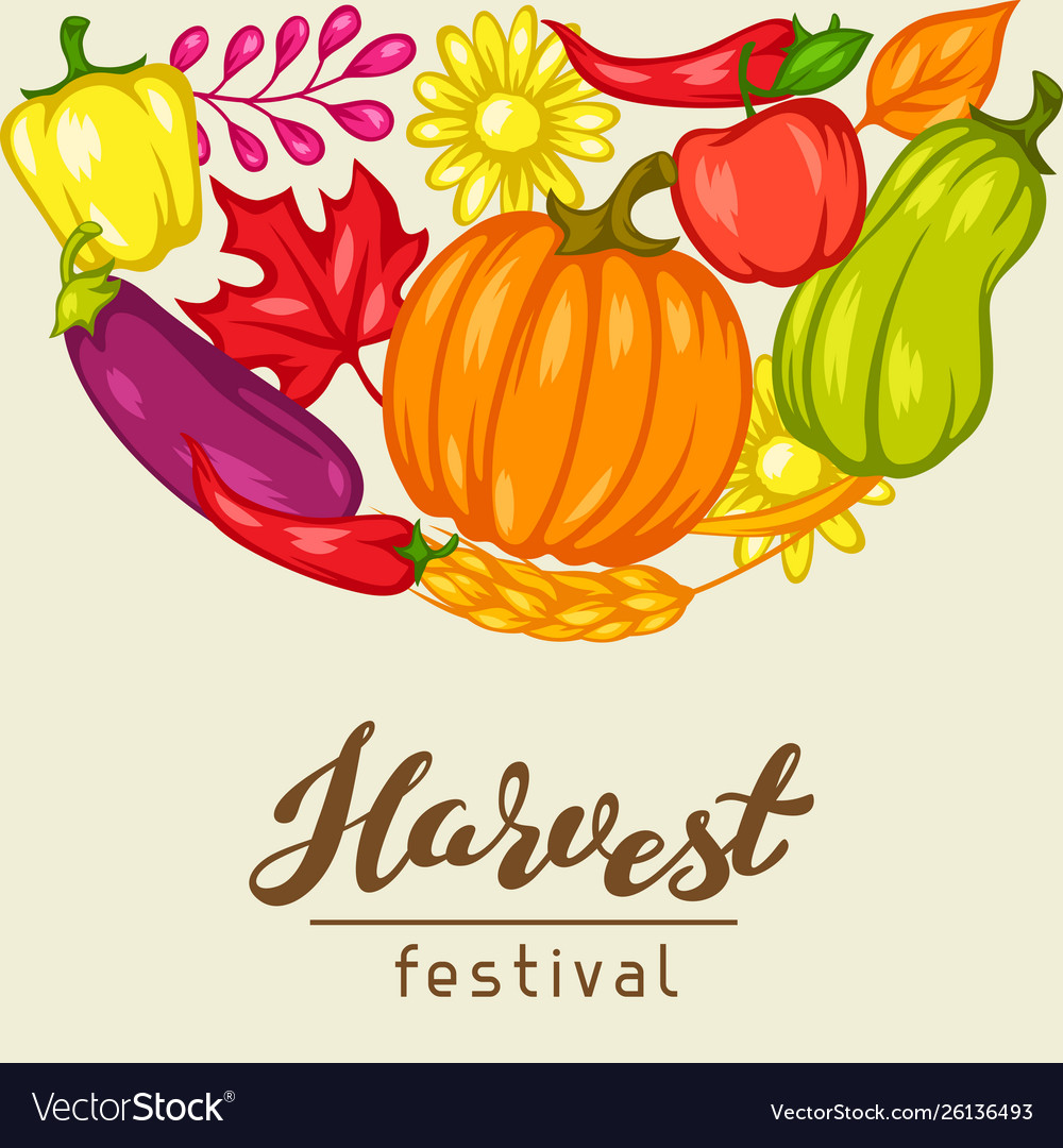 Harvest festival background with fruits and