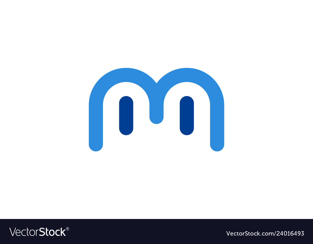 Letter m abstract eye logo icon
