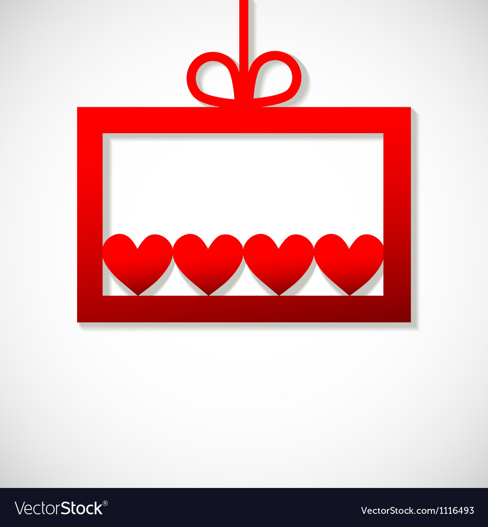 Red paper banner with four hearts vector image