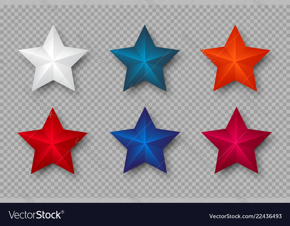 Set of 3d stars in colors of usa