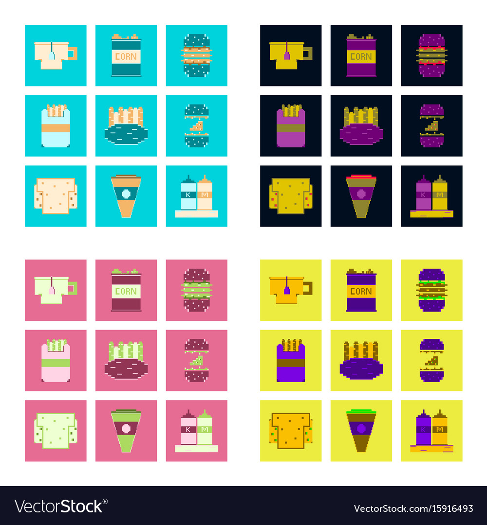 Set pixel icons of fast food