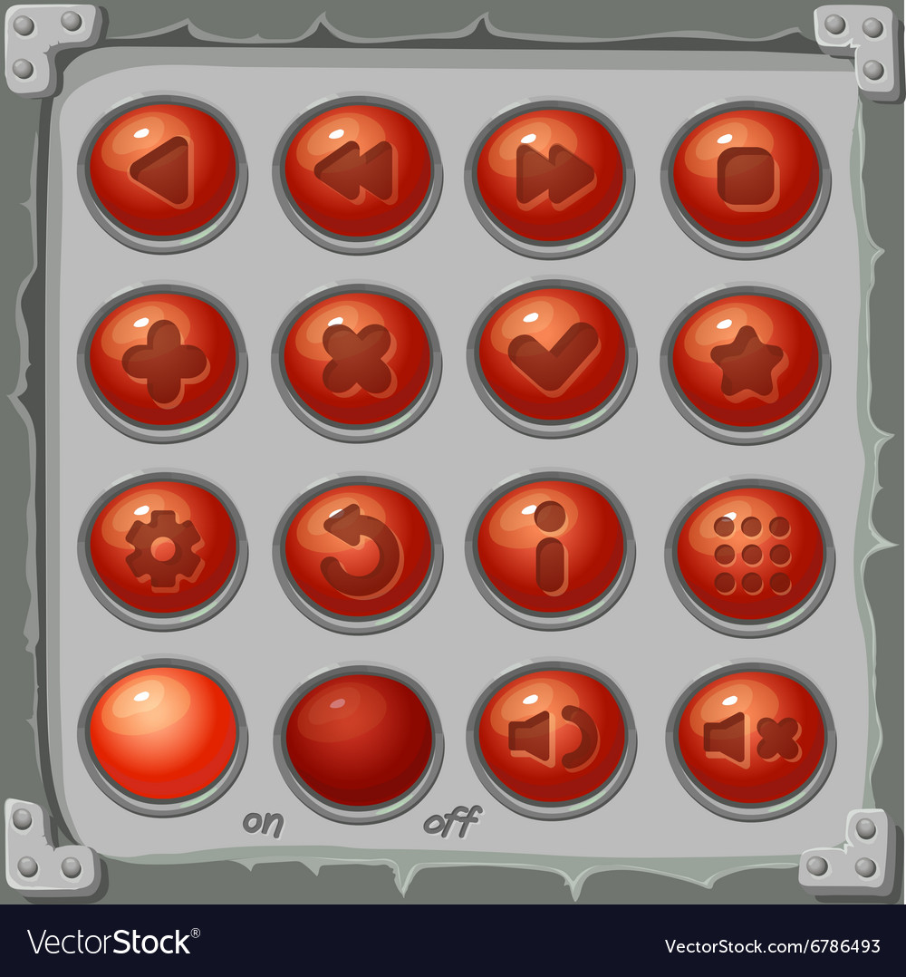 Set red buttons game icons