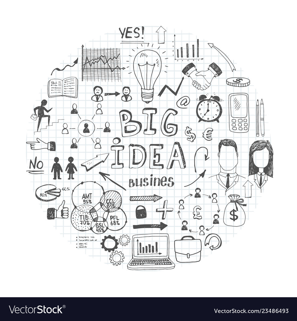 Sketch business round concept