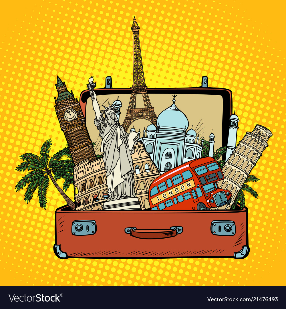 Suitcase with world landmarkstourism and travel