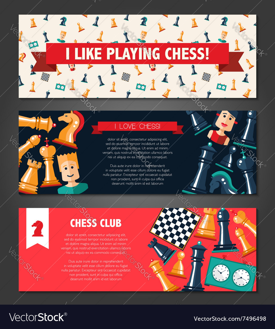 Banners set with flat design chess and players