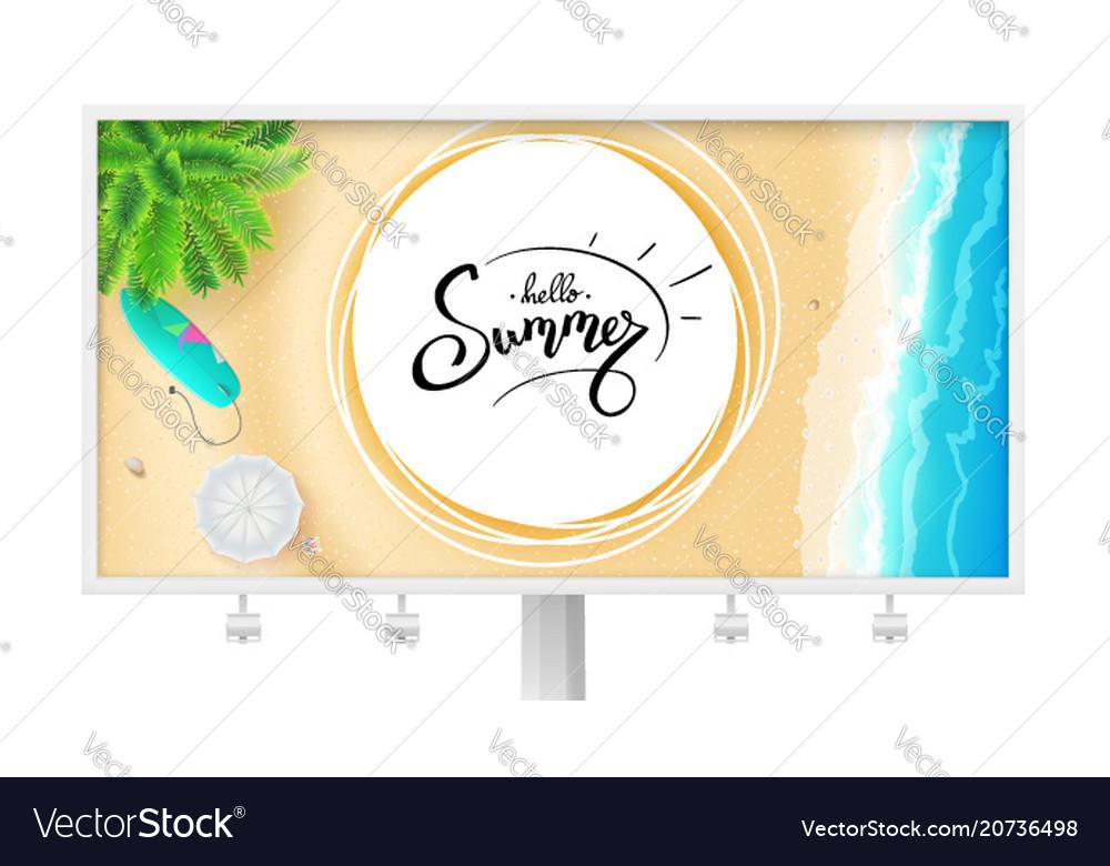 Billboard with summer beach seashore for touristic