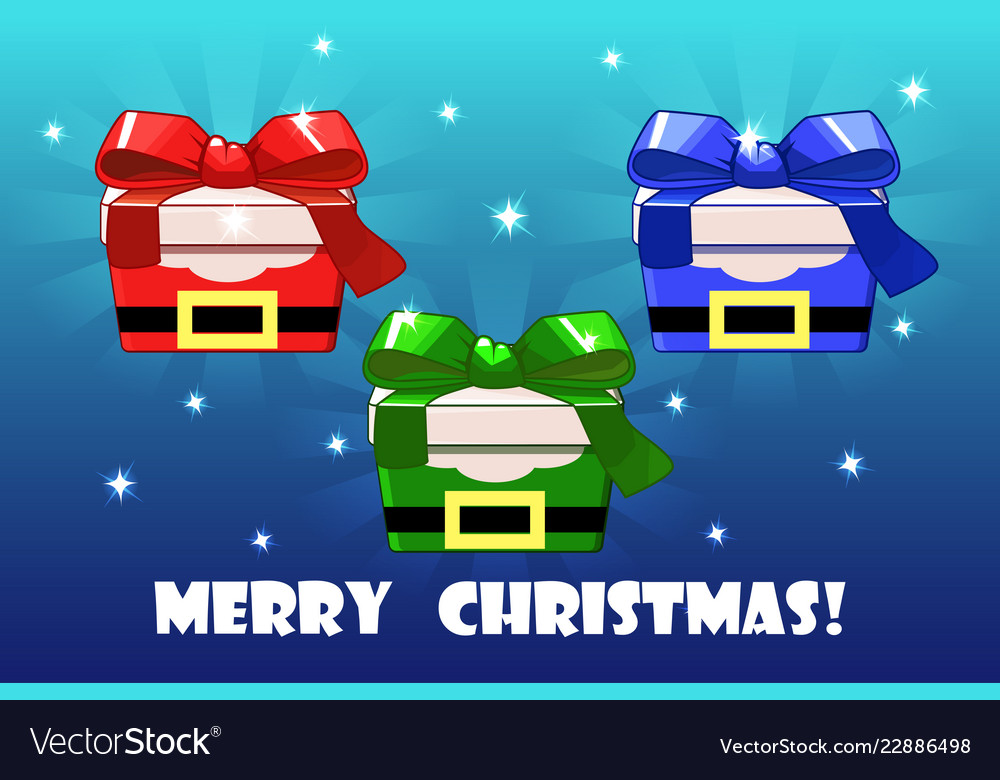 Cute christmas gifts different colored santa