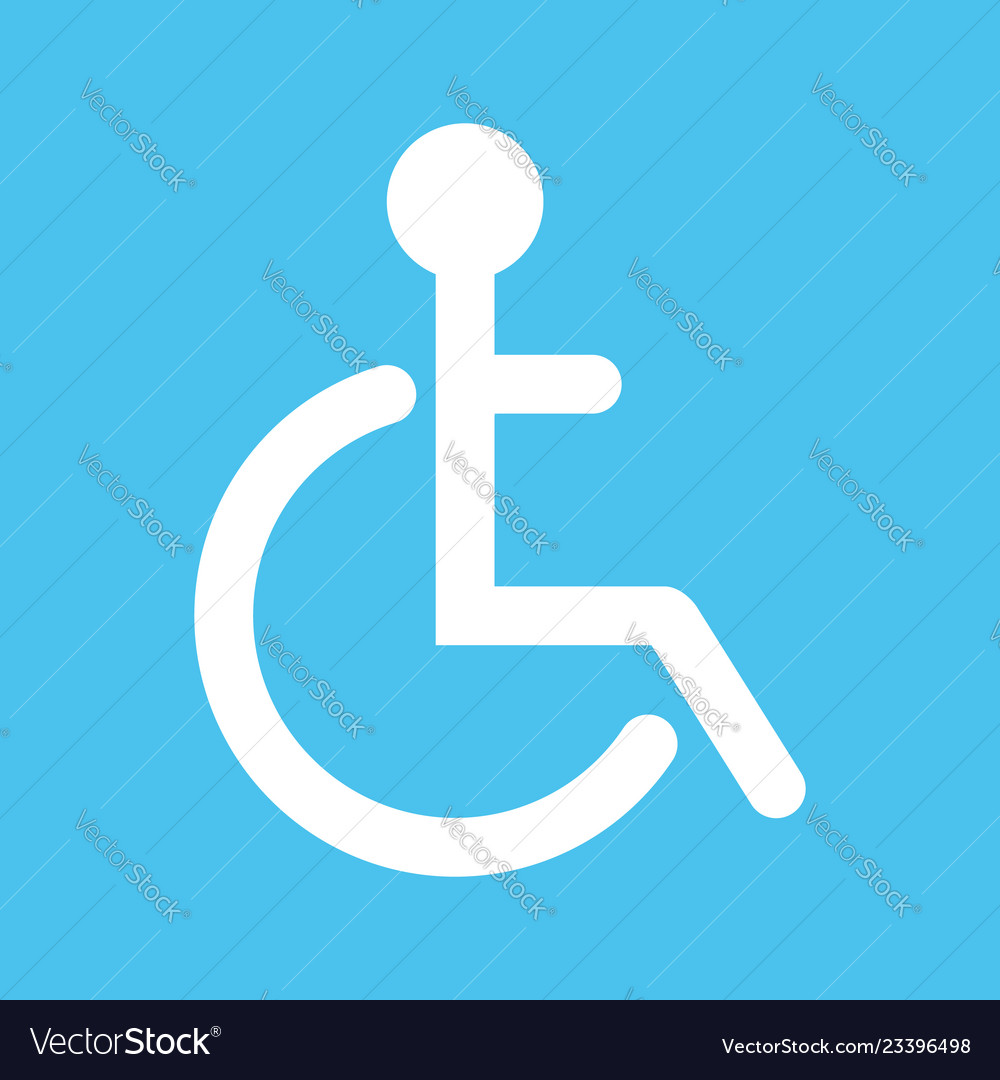 Disabled flat web icon or sign isolated on lue