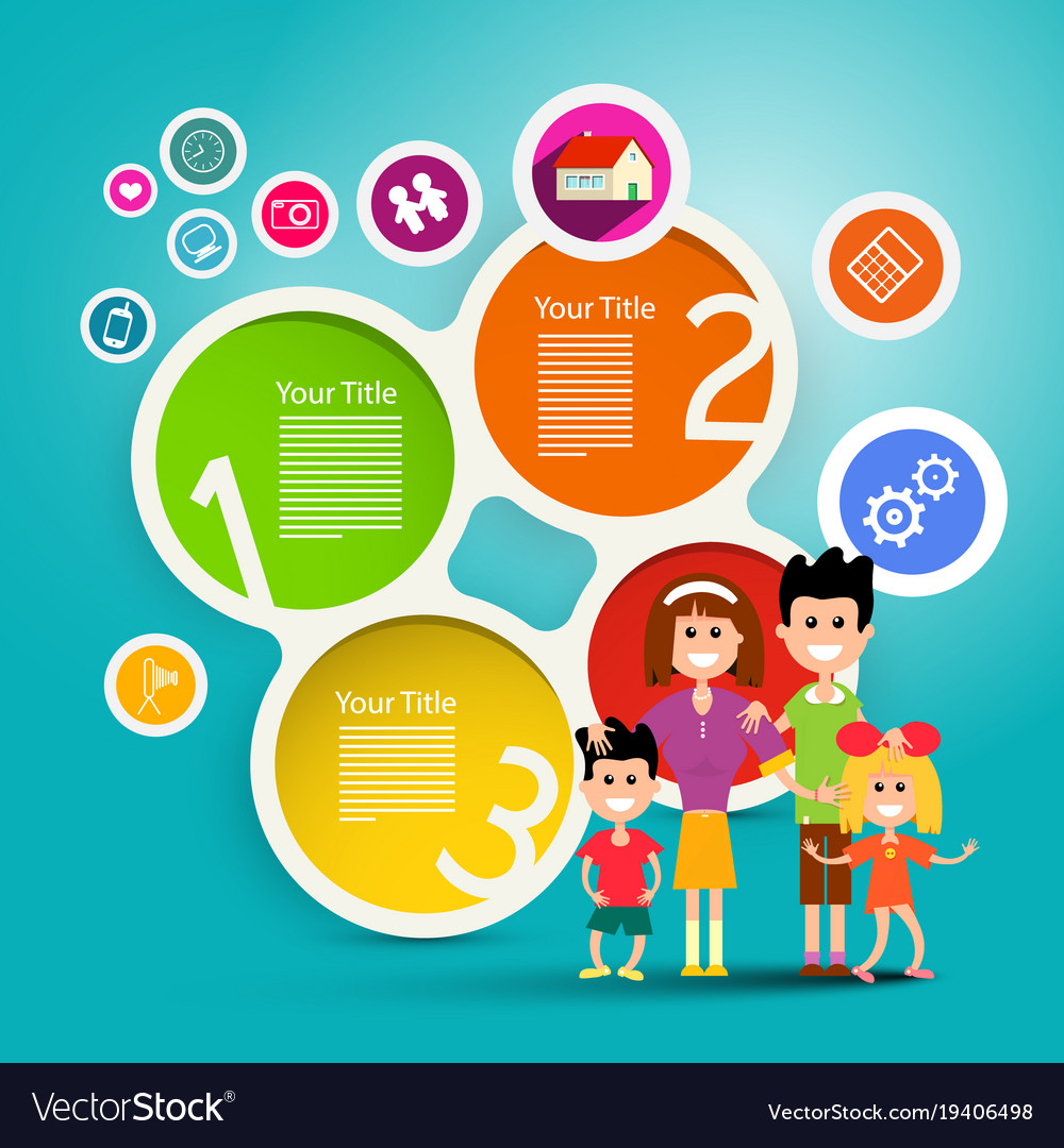 Family infographic concept colorful paper vector image