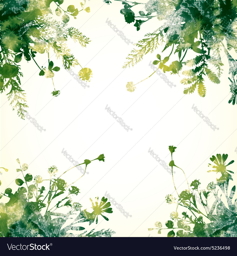 green watercolor leaves royalty free vector image