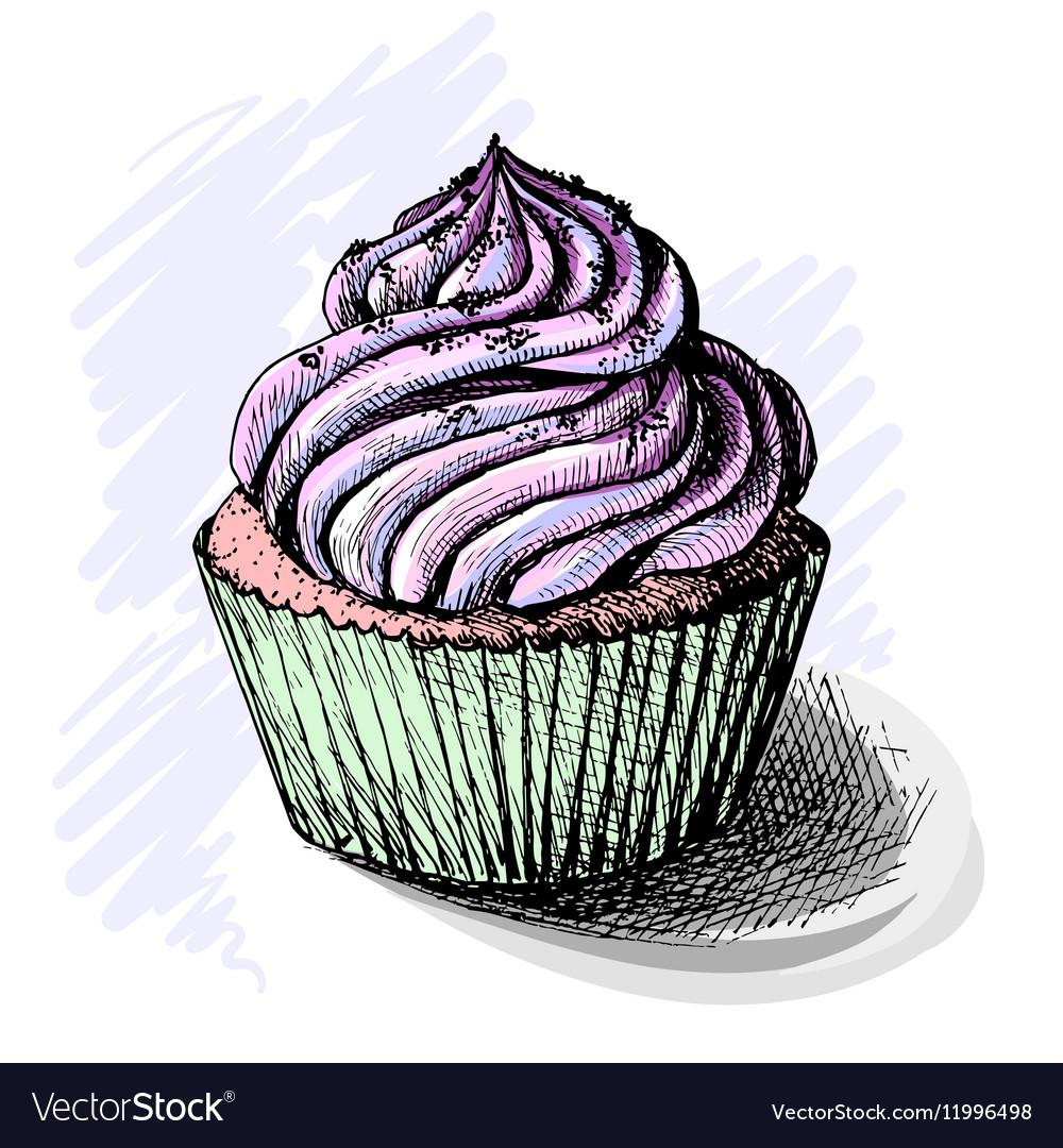 Hand drawn of tasty cupcake sketch