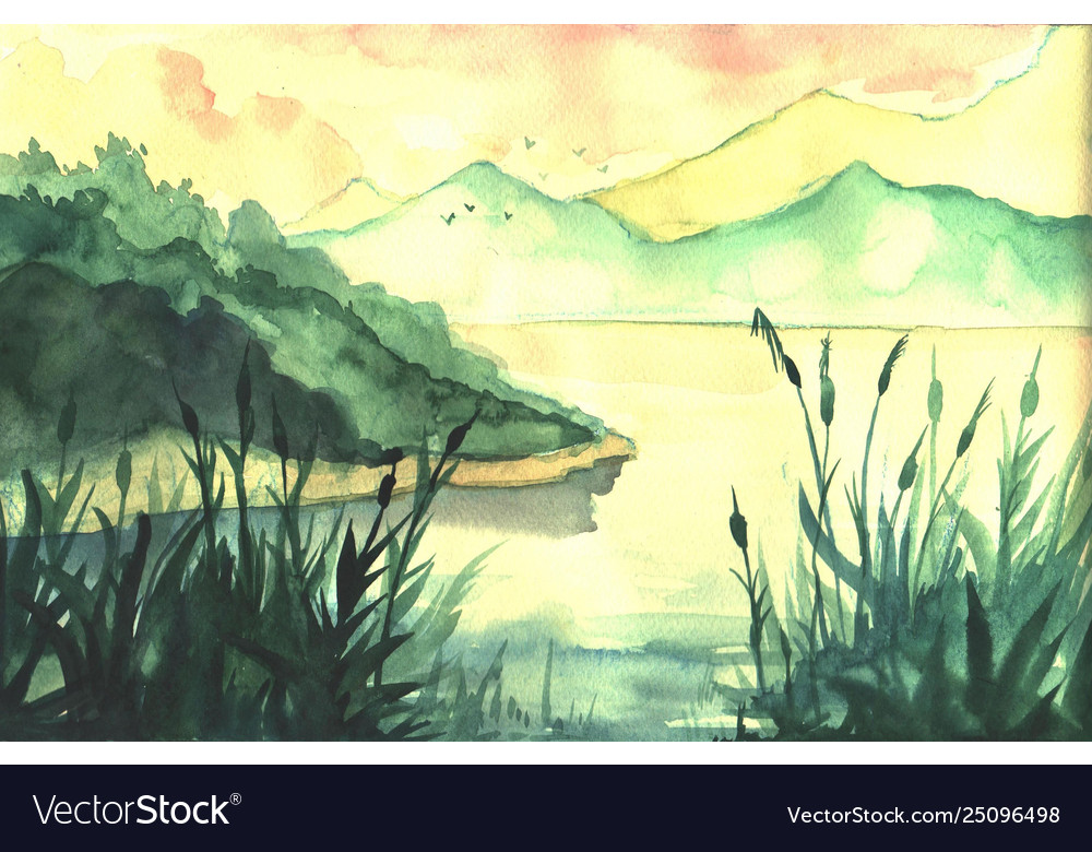 hand drawn watercolor landscape with river forest vector image vectorstock