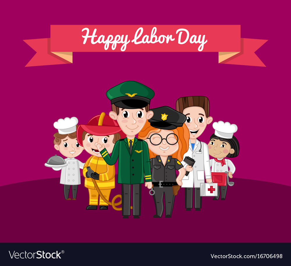Happy labor day greeting card with children vector image m4hsunfo