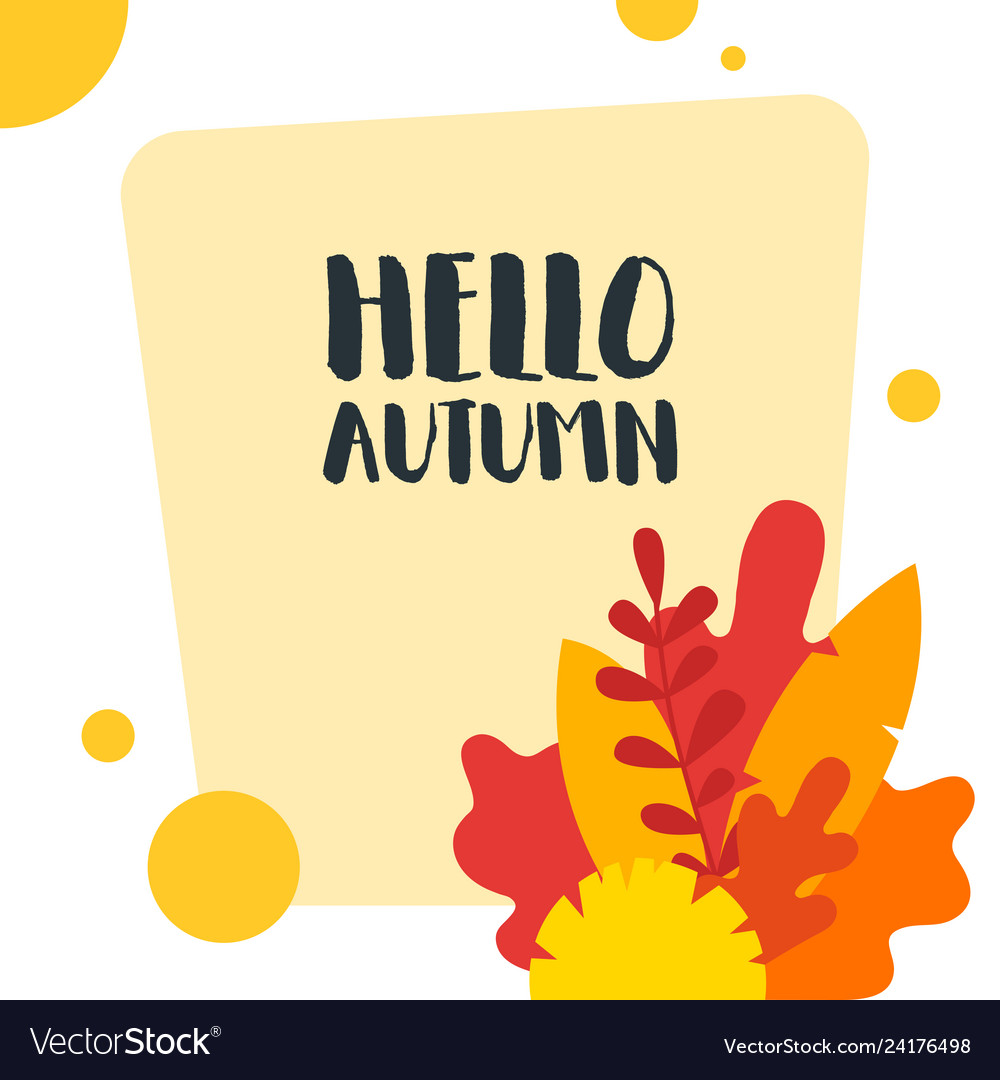 Hello autumn hand drawn colored autumn leaves