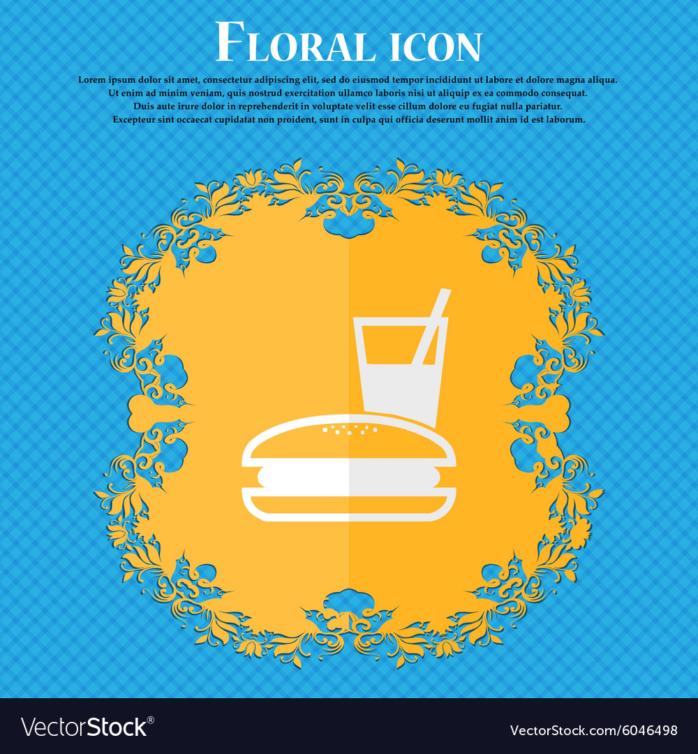 Lunch box Floral flat design on a blue abstract vector image