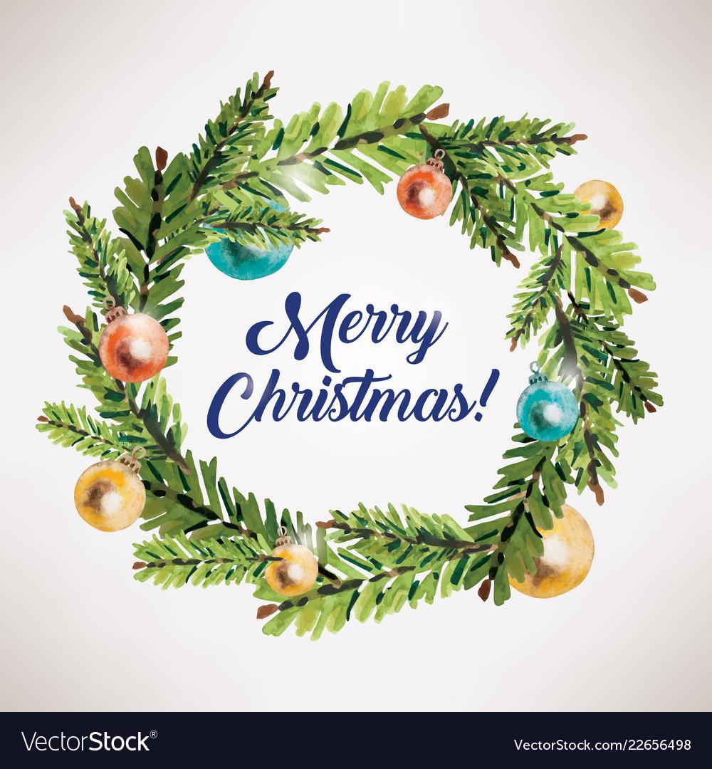 Merry Christmas Card.Merry Christmas Card Xmas Wreath Circle Frame