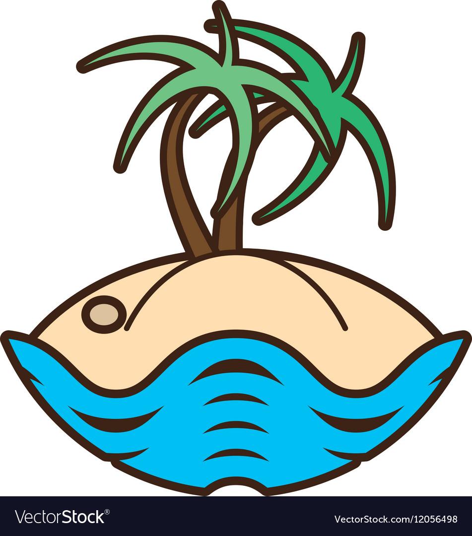 Palm tree sand beach island