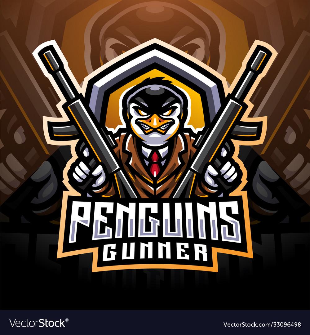Penguin gunner esport mascot logo design