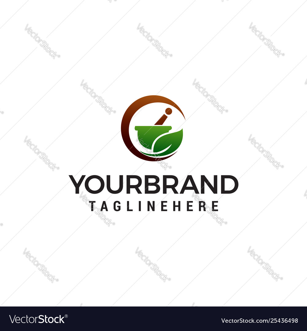 Pharmacy herbal logo design concept template