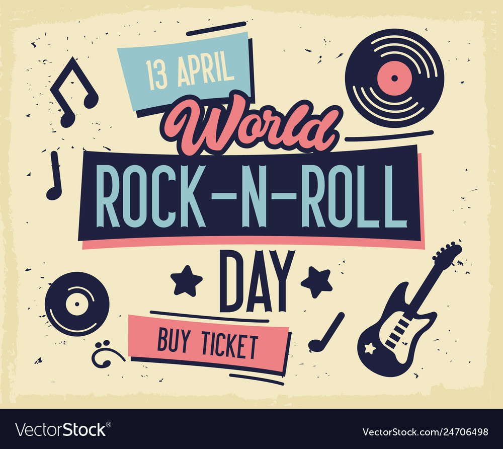 Rock festival poster world rock-n-roll day banner