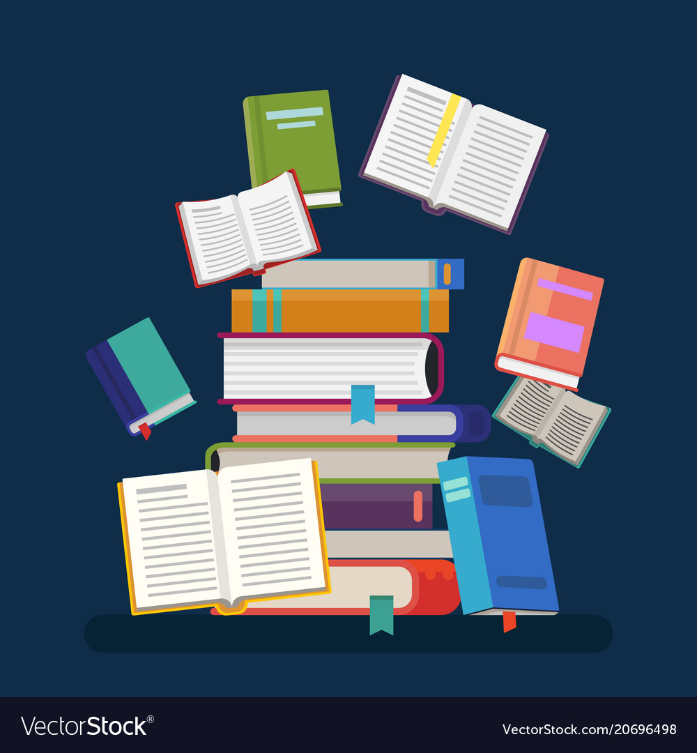 textbooks with tassel and stacked books royalty free vector