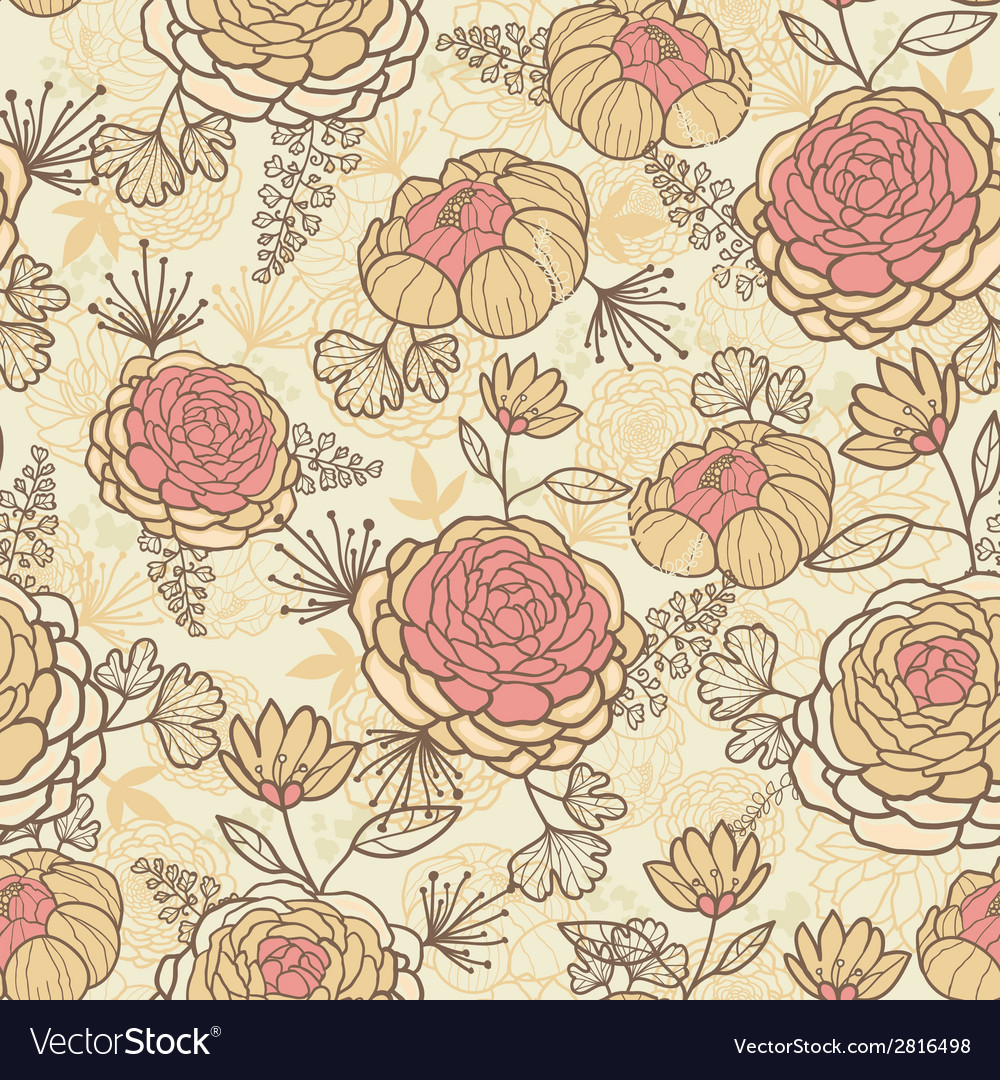 Vintage Brown Pink Flowers Seamless Pattern Vector Image
