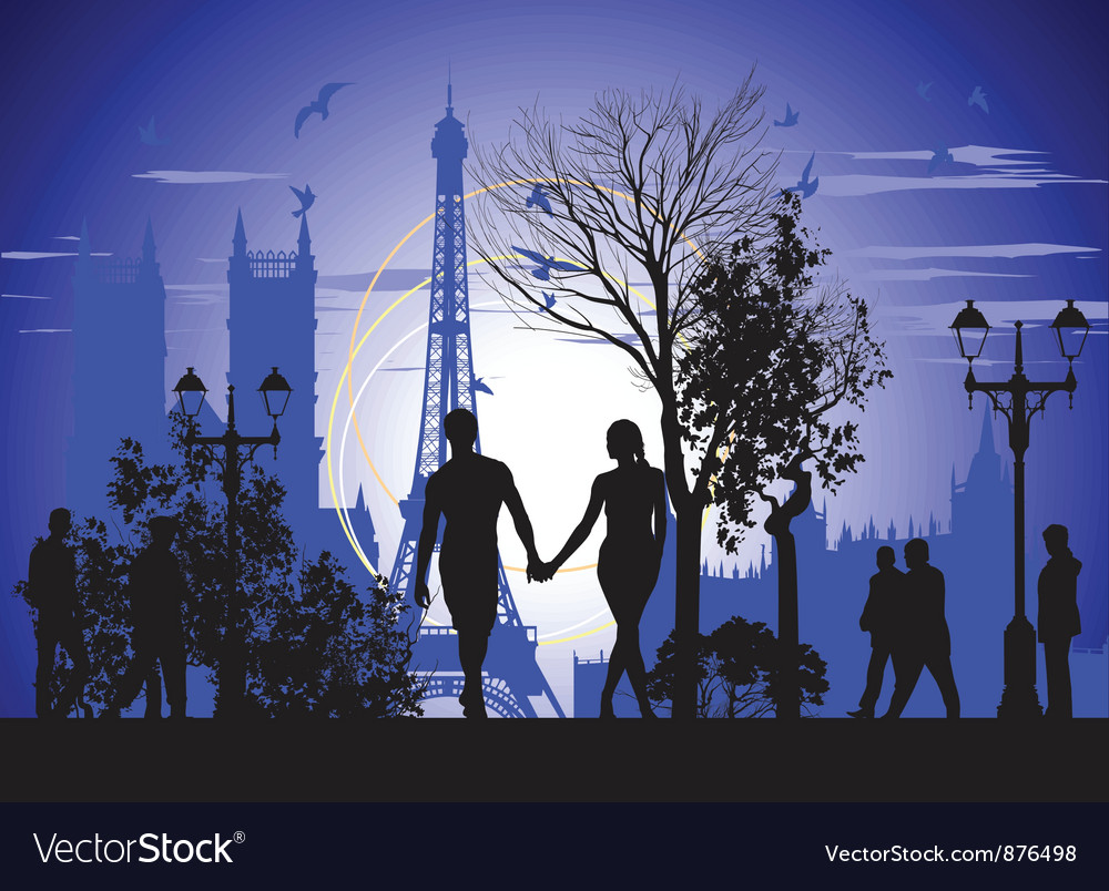 Walking on the streets of Paris vector image
