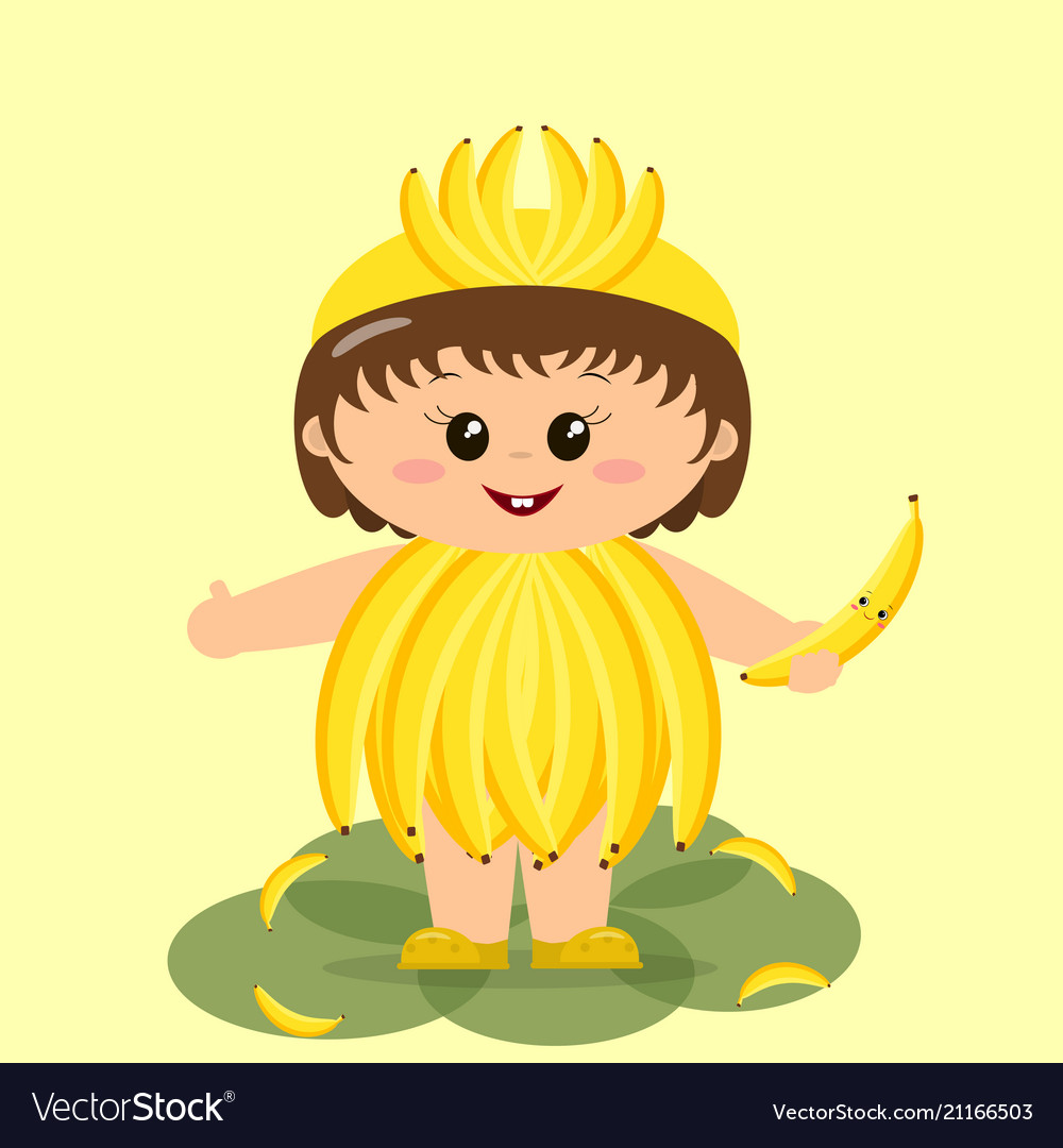 Baby In A Banana Costume Royalty Free Vector Image