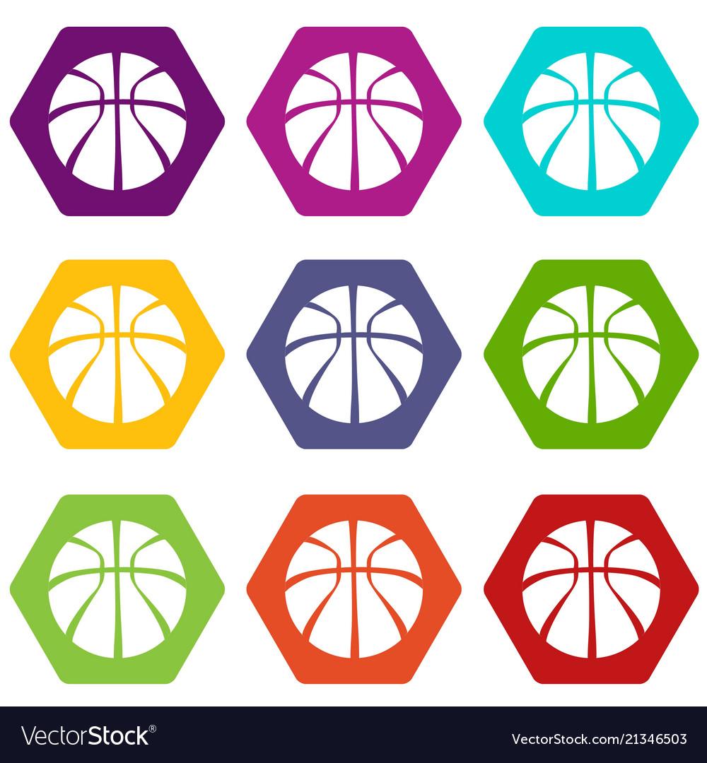 Basketball icons set 9