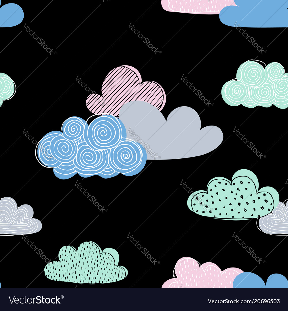 Beautiful seamless pattern doodle clouds