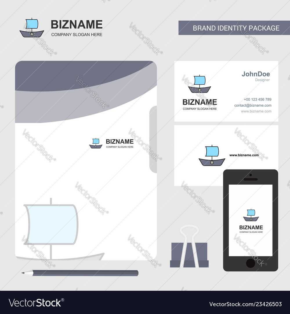 Boat business logo file cover visiting card and