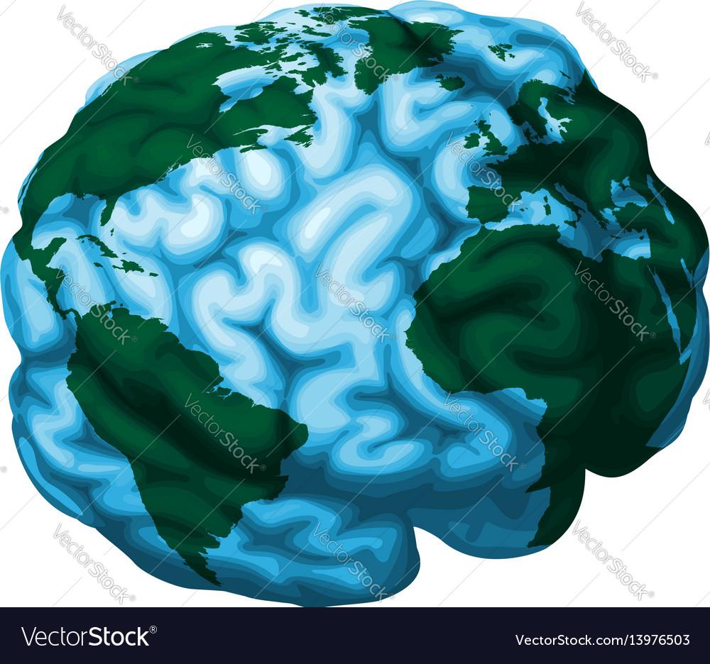brain world globe royalty free vector image vectorstock