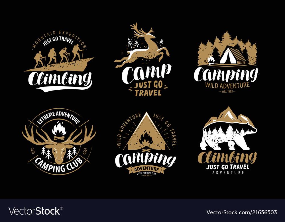 Camping hike logo or emblem hiking trip
