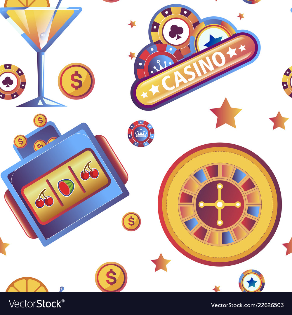 Casino gambling games and dollar coins seamless