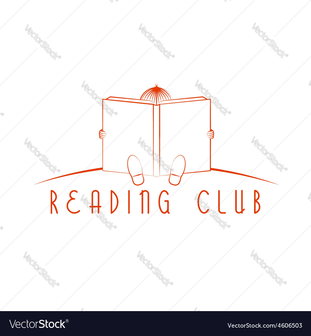 Child sitting and read book reading club logo